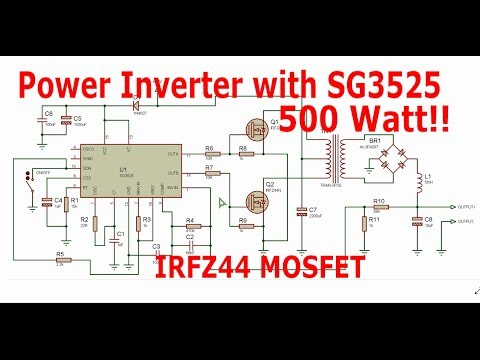 Inverter with SG3525 | 500Watt High voltage power supply | 12-240V