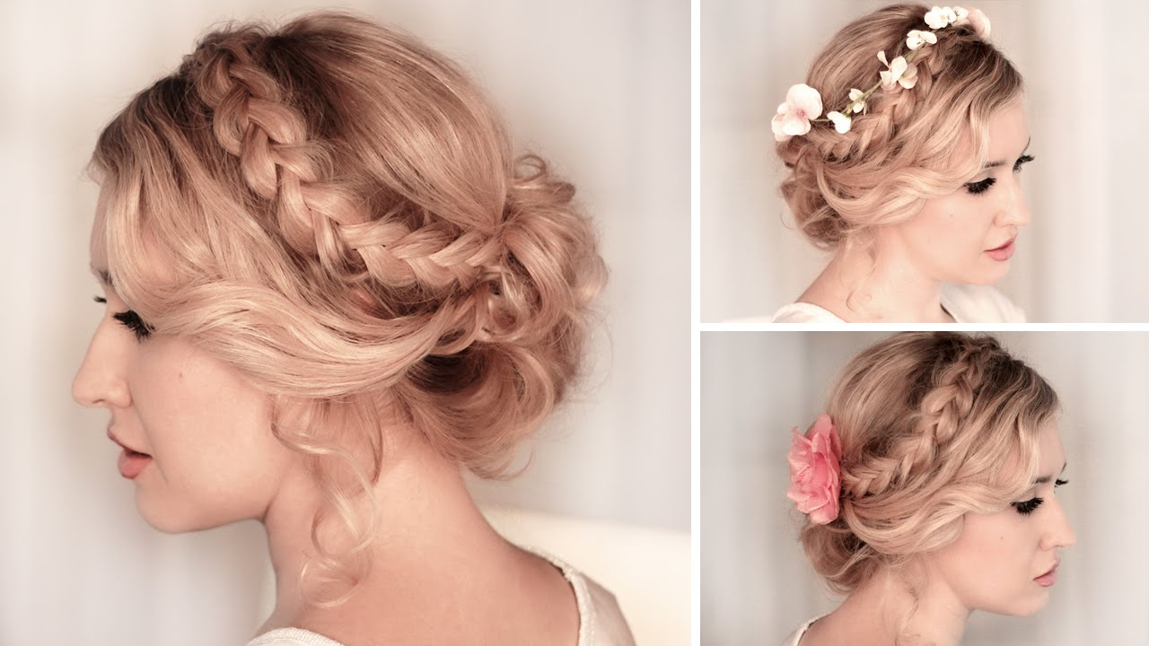 braided updo hairstyle for back to school, everyday, party, medium