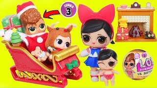 LOL Surprise Dolls + Lil Sisters in Wrong Fake Christmas Outfits - Toy Video