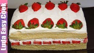 Клубничный ТОРТ со сгущенкой за 15 минут! Простой рецепт вкусного торта| Simple Strawberry Cake