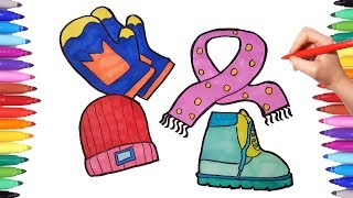 Winter Set Coloring Pages for Kids   How to Draw Winter Clothes Gloves Scarf Boots