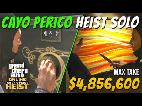 The Cayo Perico Heist SOLO 1 PLAYER - Potential Take $4,856,600 - Aggressive Approach (GTA Online)