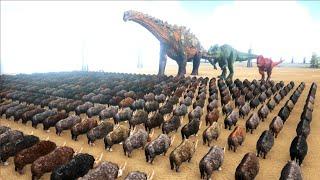 1000 Rhinos VS ARK Dinosaurs | Cantex