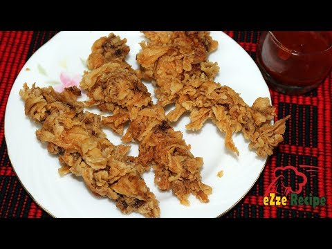 ক্রিসপি চিকেন স্ট্রিপস স্ট্রিট ফুড স্টাইলে    Crispy Chicken Strips Recipe   Crunchy Chicken Fingers