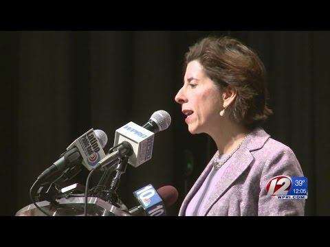 Raimondo Touts Free Tuition Plan at Cranston Rally
