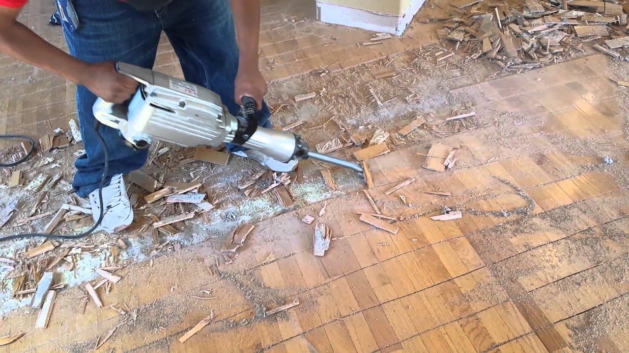 Remove Glued Down Hardwood Floors - YouTube
