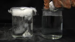 Liquid Nitrogen Cooled Dry Ice in Water!