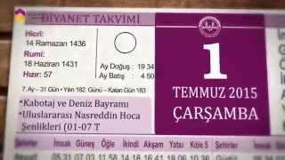 1 Temmuz 2015 Çarşamba Diyanet Takvimi - TRT DİYANET 2017 Video