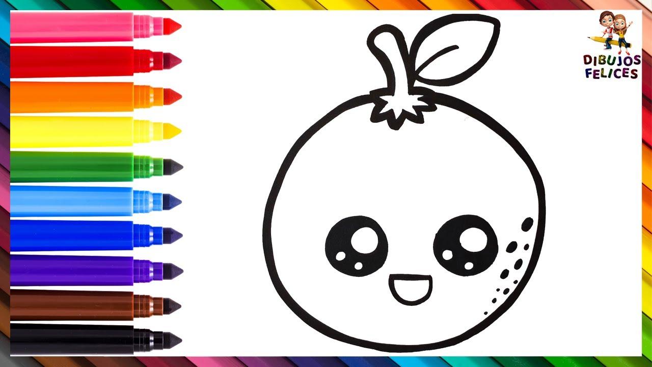 Cómo Dibujar Una Naranja 🍊 Dibuja y Colorea Una Linda Naranja Arcoiris 🌈 Dibujos Para Niños