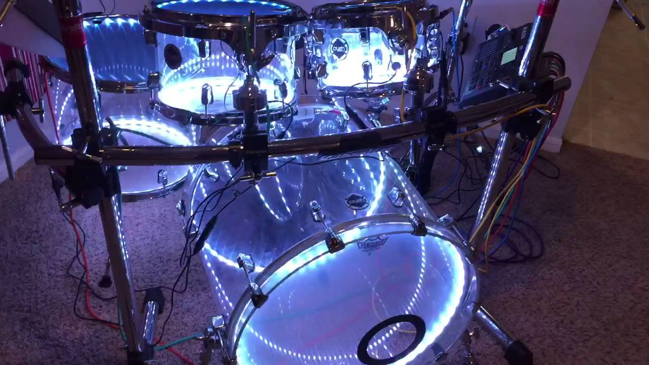 5 piece crush acrylic drum set with lights hybrid acoustic electric youtube. Black Bedroom Furniture Sets. Home Design Ideas