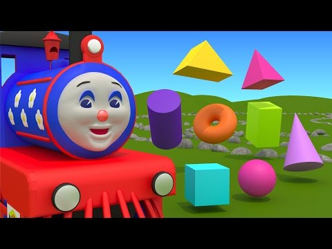 Learn about 3d shapes with ChooChoo Train – part 1 Educational cartoon for  children grade 1