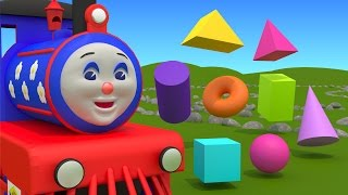 Shapes for kids children grade 1. Learn 3D shapes (geometric solids) with Choo-Choo Train - part 1