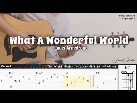 What A Wonderful World - Louis Armstrong   Fingerstyle Guitar   TAB + Chords + Lyrics
