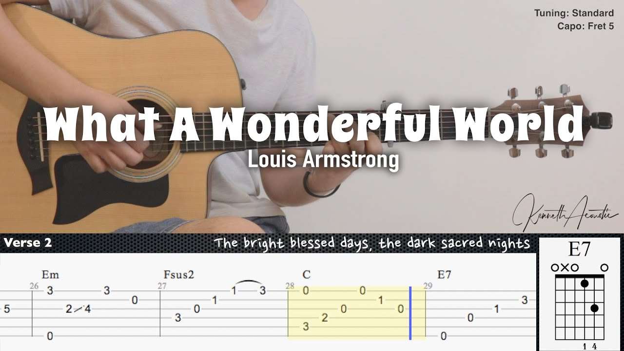 What A Wonderful World - Louis Armstrong | Fingerstyle Guitar | TAB + Chords + Lyrics