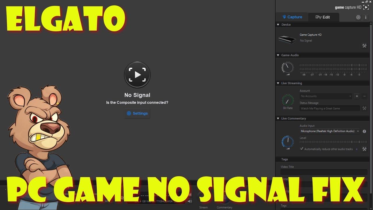 elgato no signal FIX playing / recording on same pc