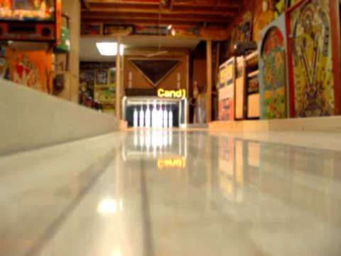 bowling two frames on my basement game room candlepin