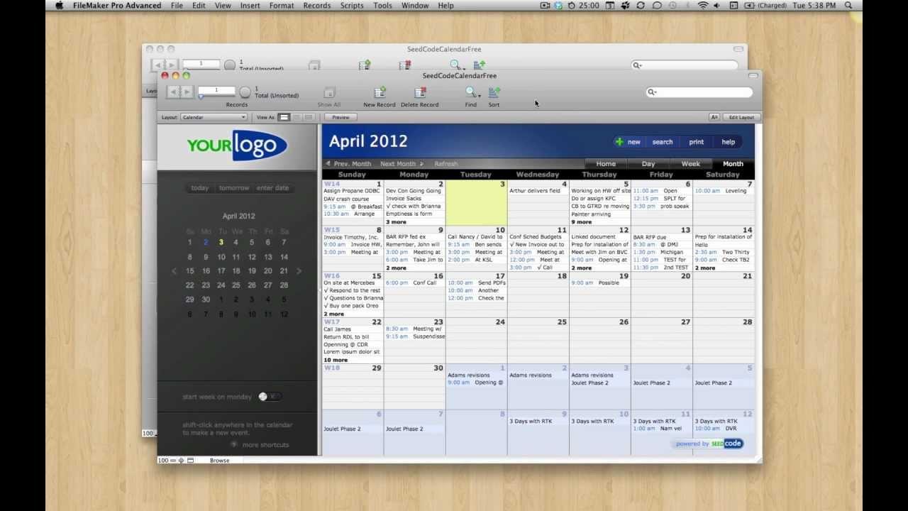 filemaker pro 12 templates - free filemaker 12 calendar template youtube