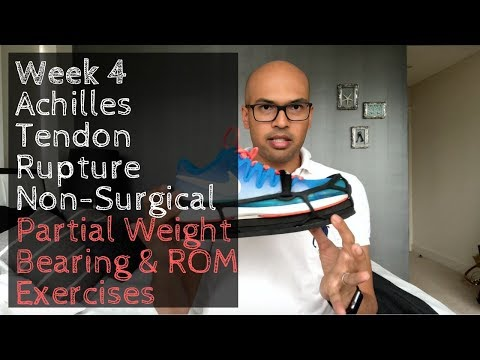Week 4: Achilles Tendon Rupture Non-Surgical Partial Weight Bearing & ROM Exercises
