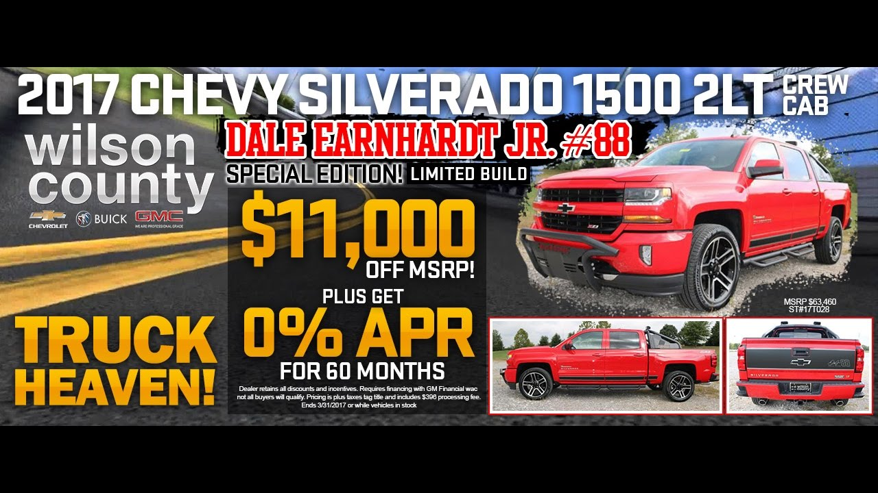 2017 Chevy Silverado Dale Earnhardt Jr #88 Edition Crew Cab Z71 2LT 4x4 At  Wilson County Chevy