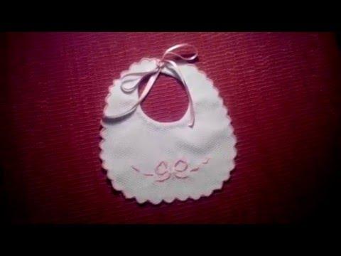 Como hacer un babero de bebe bordado