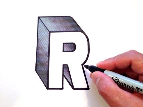 how to draw the letter r in 3d youtube. Black Bedroom Furniture Sets. Home Design Ideas