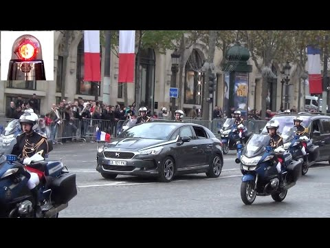 Police Escorts of French Prime Minister and President Hollande