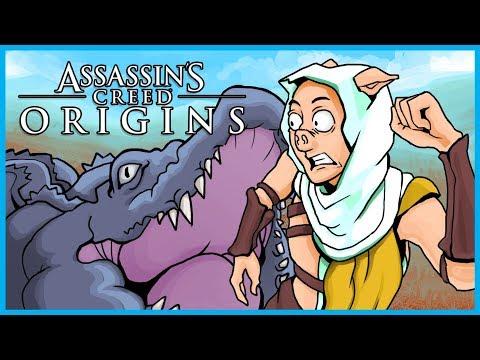 Assassin's Creed Origins Funny Moments! - The King Crocodile, Saving Grandpa, and Hunting! (4K)