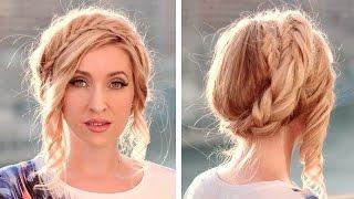 Летняя причёска с плетением ★ Корона/венок из волос на каждый день