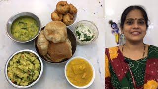 Mango Kesari | Morning Vlog | Poori | potato Masal | Rava Kichadi | Coconut Chutney/Vadai