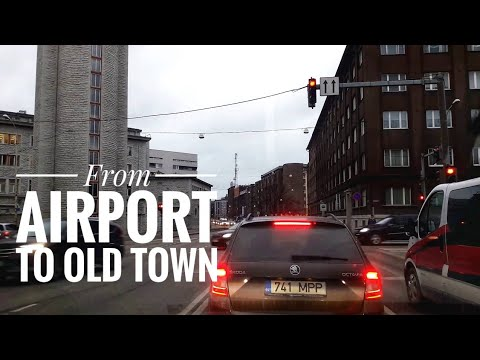 Taxi drive from Tallinn airport to Old Town (Dec 2016)