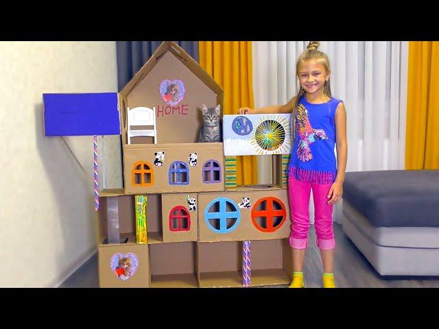 ДОМИК ДЛЯ КОШКИ из картона своими руками | Видео для детей | Tiki Taki Cook