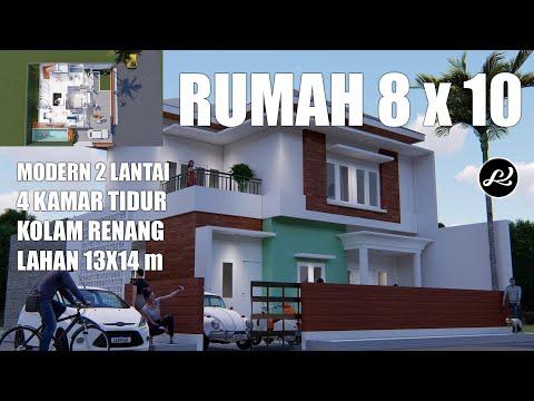 desain rumah minimalis 2 lantai - denah rumah 8x10 - 4 buah kamar tidur