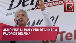 AMLO da el 'sí' a alianzas si PAN y PRD declinan a favor de Delfina