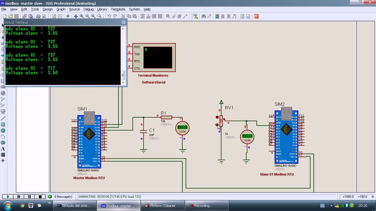 Simulation Modbus RTU Slave and Master with 2 Arduino Nano in Proteus  #arduino : PDAControl