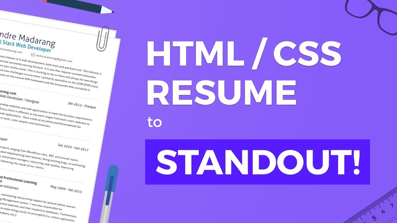 Htmlcss Resume To Help You Stand Out Youtube