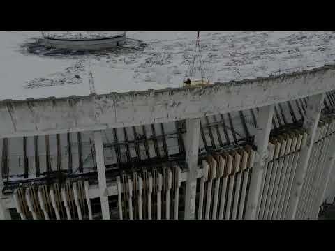 Демонтаж крыши СКК- видео  с воздуха