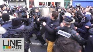 La manifestation interdite pour les migrants dégénère / Paris - France 22 novembre 2015