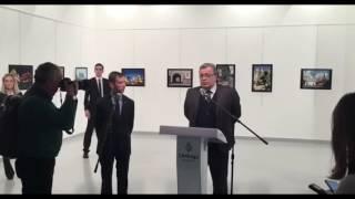 Новое видео покушения на посла России в Турции