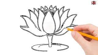 flower easy drawings simple beginner lotus draw beginners step