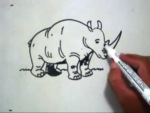 Cara Menggambar Badak How To Draw A Rhino Youtube