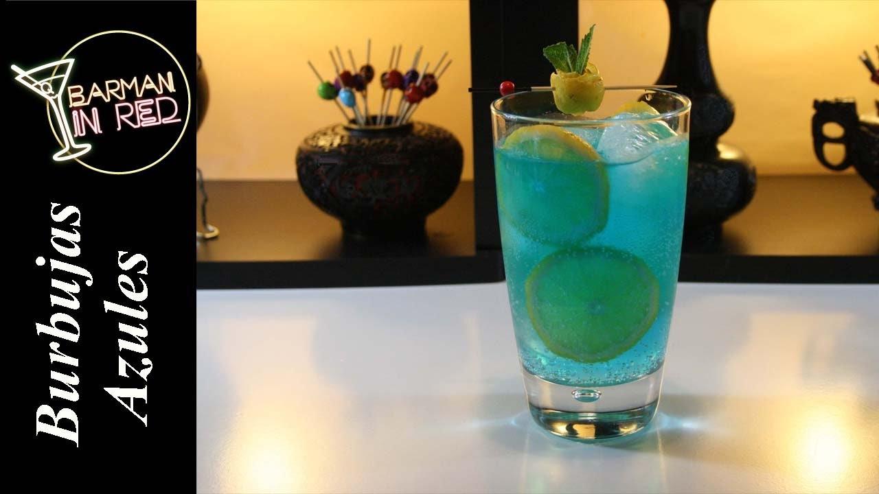 como hacer el coctel burbujas azules