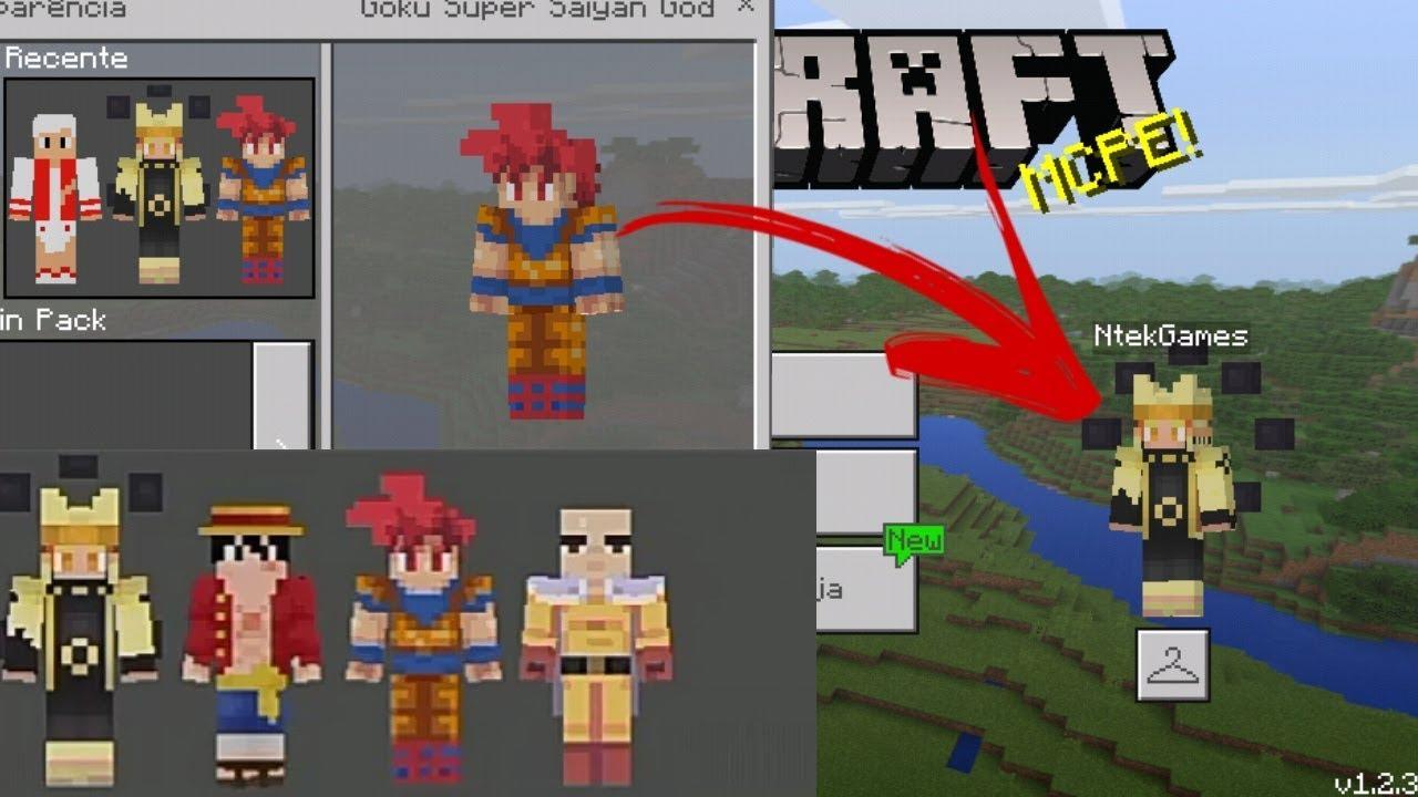 Minecraft PE : COMO SE TRASFORMA EM GOKU, NARUTO, SAITAMA, LUFFY !  (Minecraft Pocket Edition)
