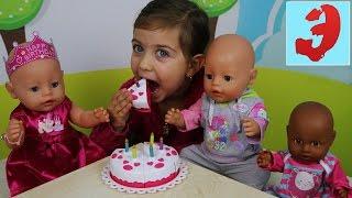 Играем в куклы Baby Born Элене День Рождения с тортом