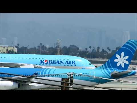 Korean Air A380 Landing at Los Angeles International Airport LAX