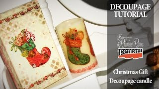 How to decoupage on candle and cardboard - candles and old shoes box recycling with decoupage
