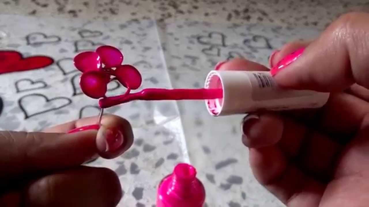 como hacer flores de alambre y pintura de uñas - YouTube
