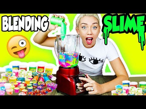 BLENDING STORE BOUGHT SLIME IN A BLENDER! GIANT STORE BOUGHT SLIME SMOOTHIE!