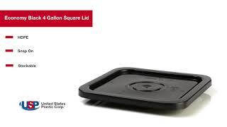 Economy Black 4 Gallon Square Lid | U.S. Plastic Corporation®