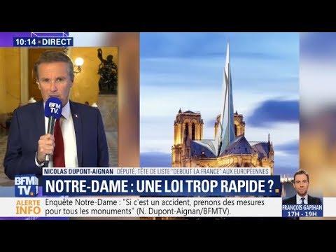 Pétition Notre-Dame: Nicolas Dupont-Aignan sur BFMTV