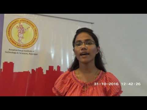 Sunanda Kommi at AITS, Rajampet- What I want you to know